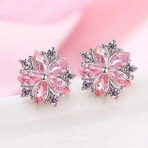 *NEW 925 Sterling Silver Diamond Flower Earrings